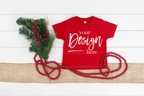 Image of Rabbit Skins Mockup Toddler Jersey Tee  |  RED