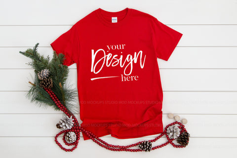 Image of Gildan 5000 Tshirt Mockup  |  RED