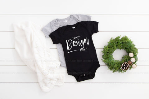 Image of Multiple Mockup Bella Canvas Mockup 100B Bodysuit  |  BLACK & ATHLETIC HEATHER