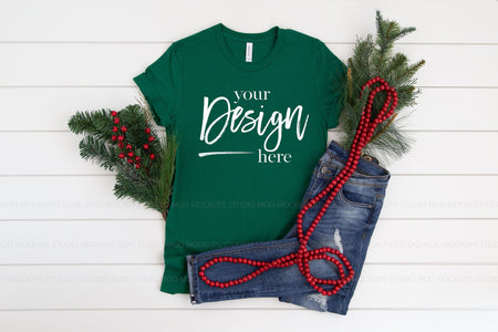 3001 Bella Canvas Mockup T-shirt | EVERGREEN