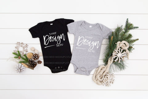 Family Mockup Bella Canvas Mockup 100B Bodysuit  |  BLACK & ATHLETIC HEATHER