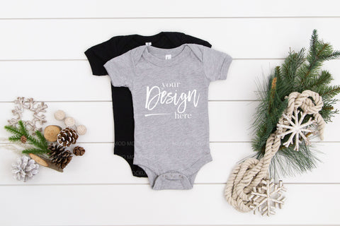 Multiple Mockup Bella Canvas Mockup 100B Bodysuit  |  BLACK & ATHLETIC HEATHER
