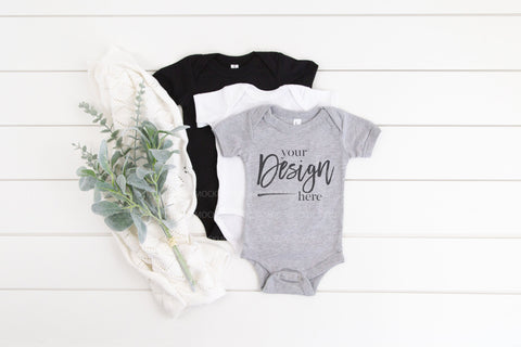 100B Bella Canvas Bodysuit Mockup  |  BLACK, WHITE & ATHLETIC HEATHER