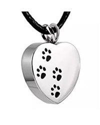 Heart With Paw Prints Pendant