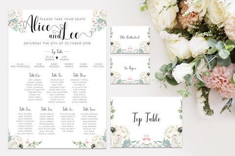 Table plan, table numbers and guest name cards to match wedding theme
