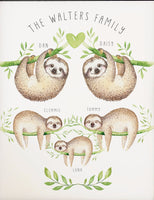 Personalised family sloth print