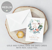 Save the date - floral with gold foils