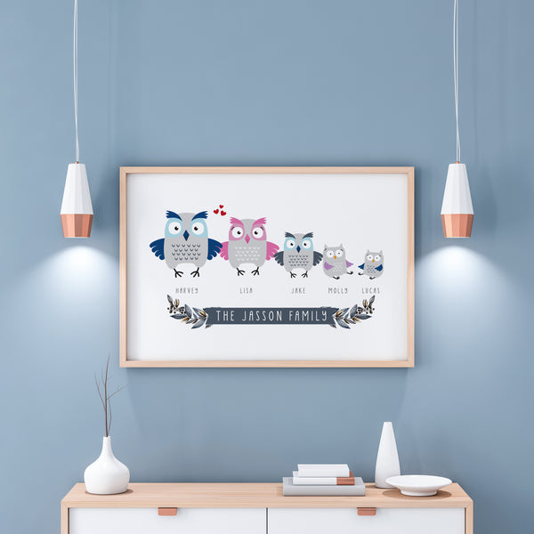 Personalised Family Owl print