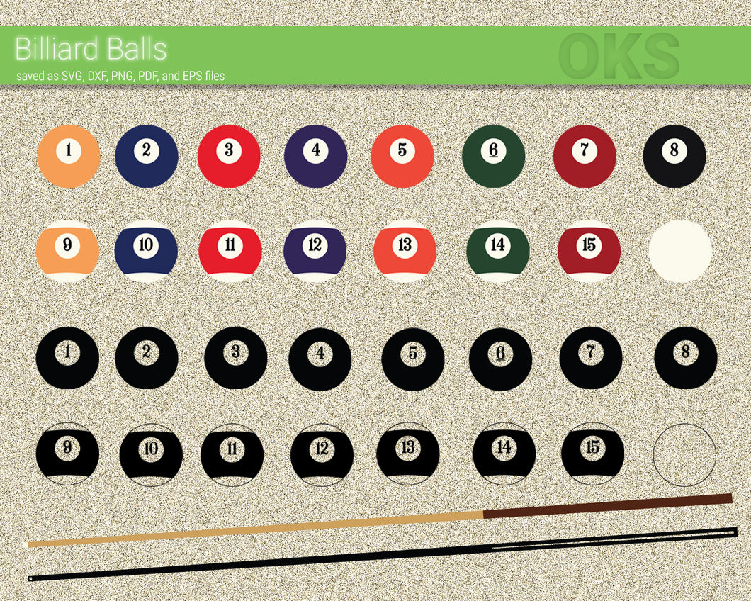Billiard Balls svg, dxf, vector, eps, clipart, cricut, download