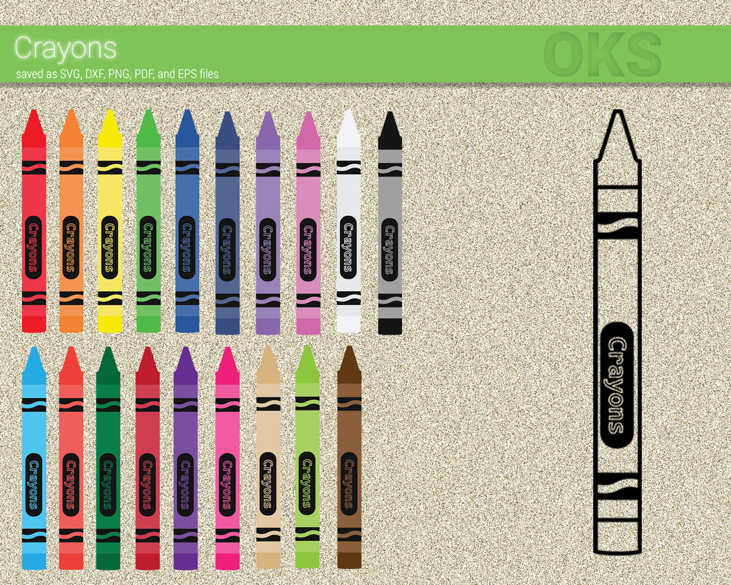 Crayons svg, dxf, vector, eps, clipart, cricut, download