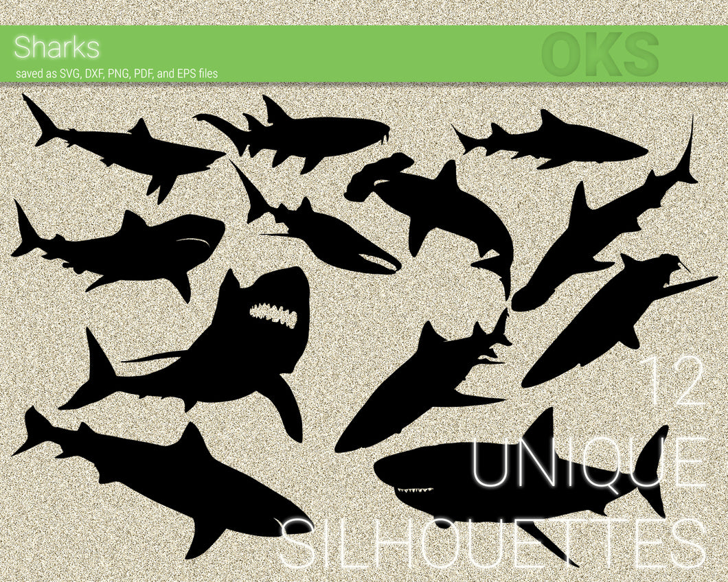Sharks svg, shark dxf, vector, eps, clipart, cricut, download