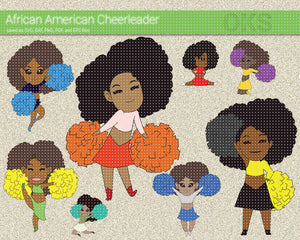 african american cheerleader SVG file, DXF, free SVG cut file instant download for cricut and other uses