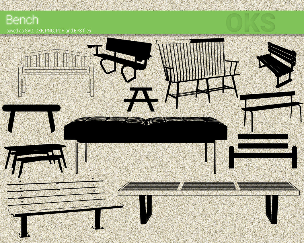 bench, chair svg, dxf, vector, eps, clipart, cricut, download