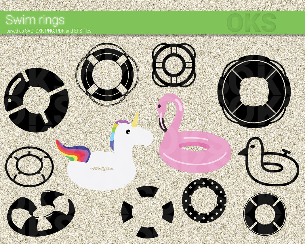 swim rings svg, dxf, vector, eps, clipart, cricut, download