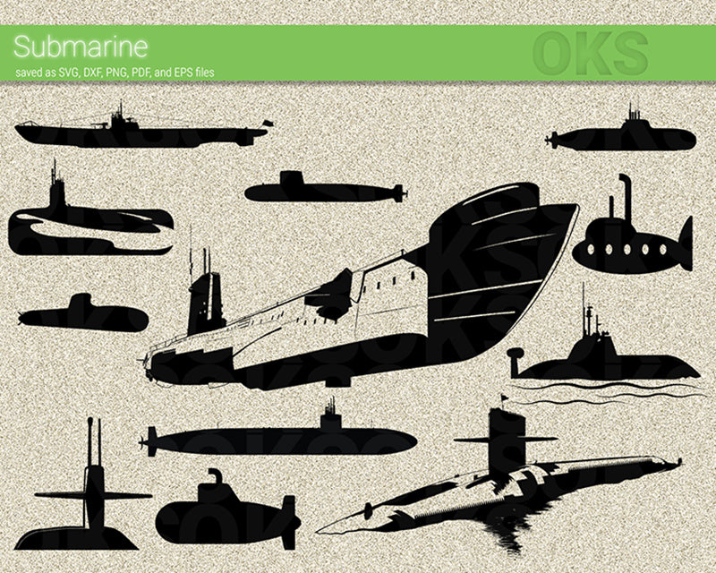 submarine svg, dxf, vector, eps, clipart, cricut, download