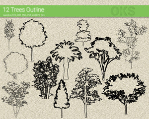 FREE trees outline svg, dxf, vector, eps, clipart, cricut, download