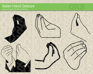 italian hand gesture SVG cut files, DXF, vector EPS cutting file instant download for cricut and other uses