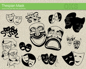 thespian mask svg, dxf, vector, eps, clipart, cricut, download