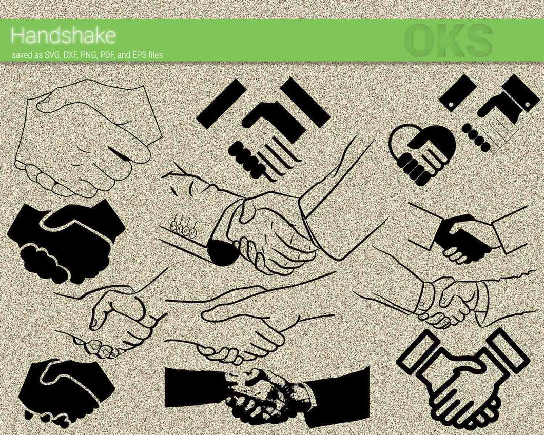 handshake svg, dxf, vector, eps, clipart, cricut, download