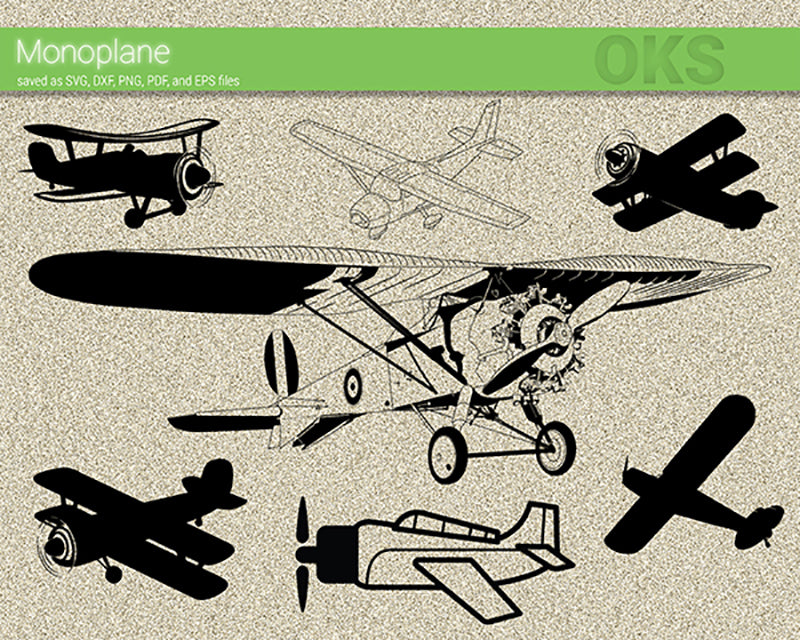 FREE monoplane svg, dxf, vector, eps, clipart, cricut, download