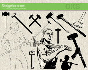 sledgehammer svg, dxf, vector, eps, clipart, cricut, download