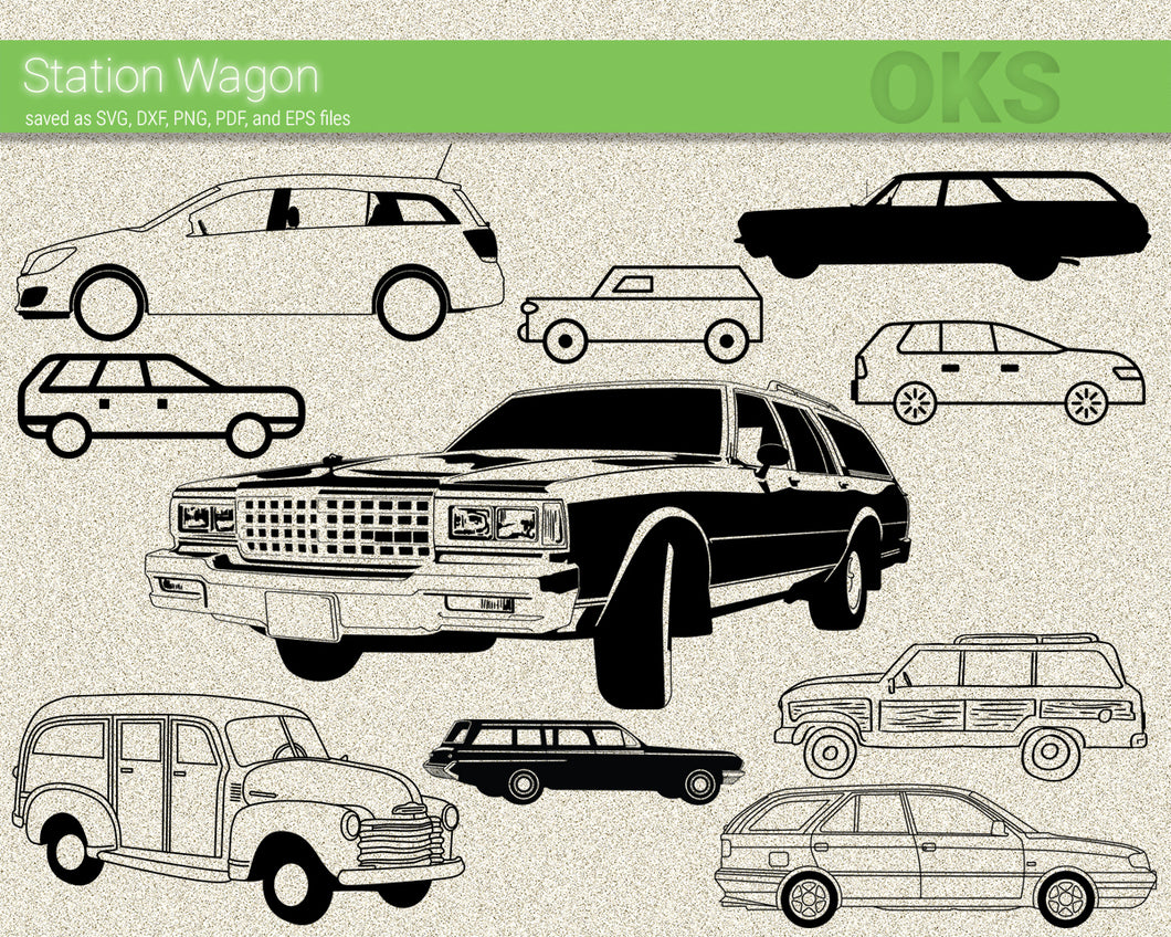 station wagon svg, dxf, vector, eps, clipart, cricut, download