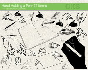 hand holding a pen svg, dxf, vector, eps, clipart, cricut, download
