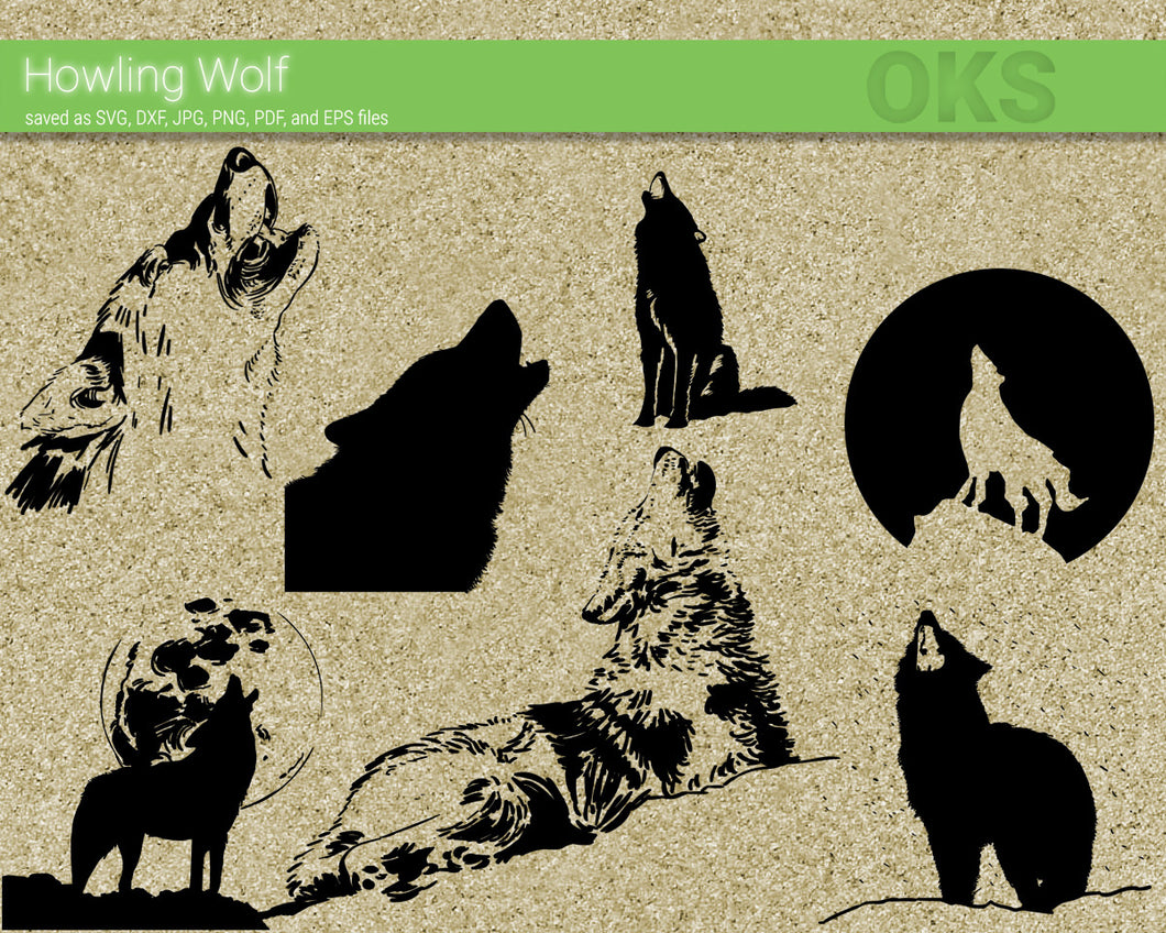 howling wolf svg, dxf, vector, eps, clipart, cricut, download
