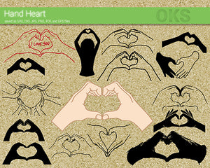 hand heart svg, dxf, vector, eps, clipart, cricut, download
