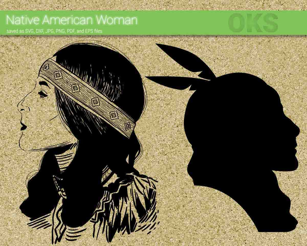native american woman svg, dxf, vector, eps, clipart, cricut, download