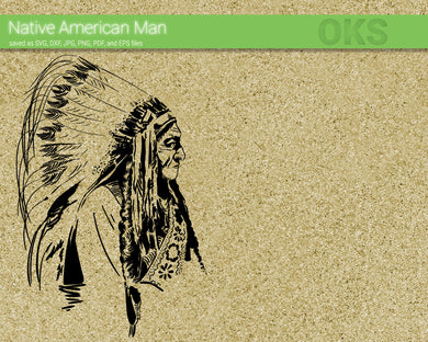 native american chief svg, dxf, vector, eps, clipart, cricut, download