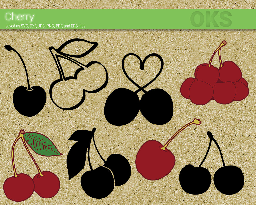 cherry fruit svg, dxf, vector, eps, clipart, cricut, download