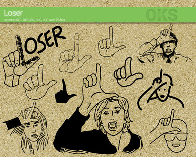 FREE loser hand sign svg, dxf, vector, eps, clipart, cricut, download