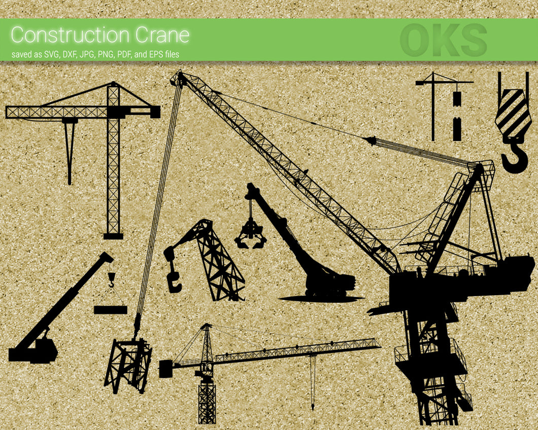 construction crane svg, dxf, vector, eps, clipart, cricut, download