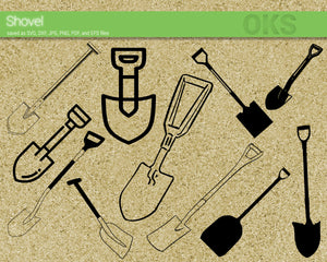 FREE shovel svg, dxf, vector, eps, clipart, cricut, download