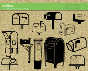 mailbox svg, dxf, vector, eps, clipart, cricut, download