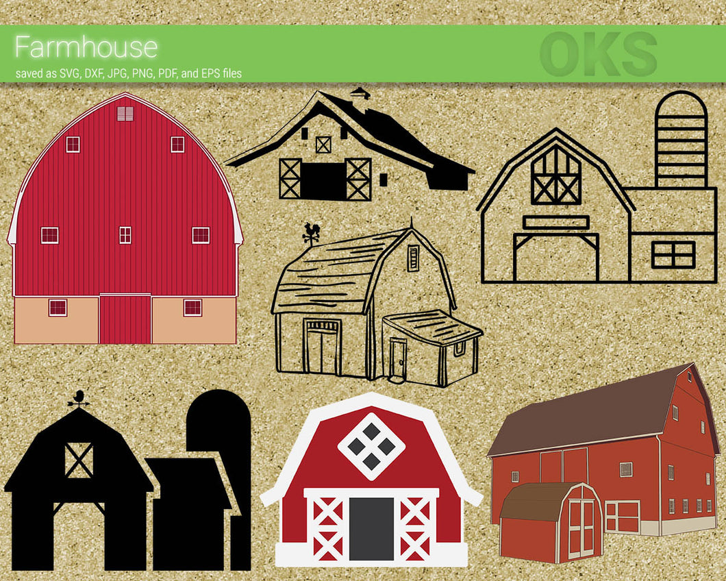 farmhouse, barn svg, dxf, vector, eps, clipart, cricut, download