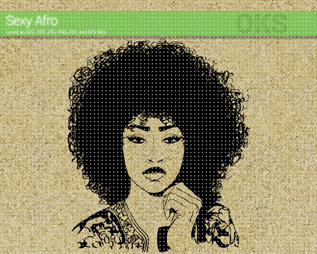 sexy afro, african american woman SVG file, DXF, free SVG cut file instant download for cricut and other uses