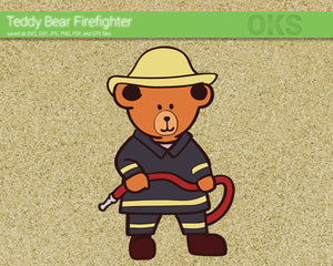 FREE teddy bear firefighter svg, dxf, vector, eps, clipart, cricut, download
