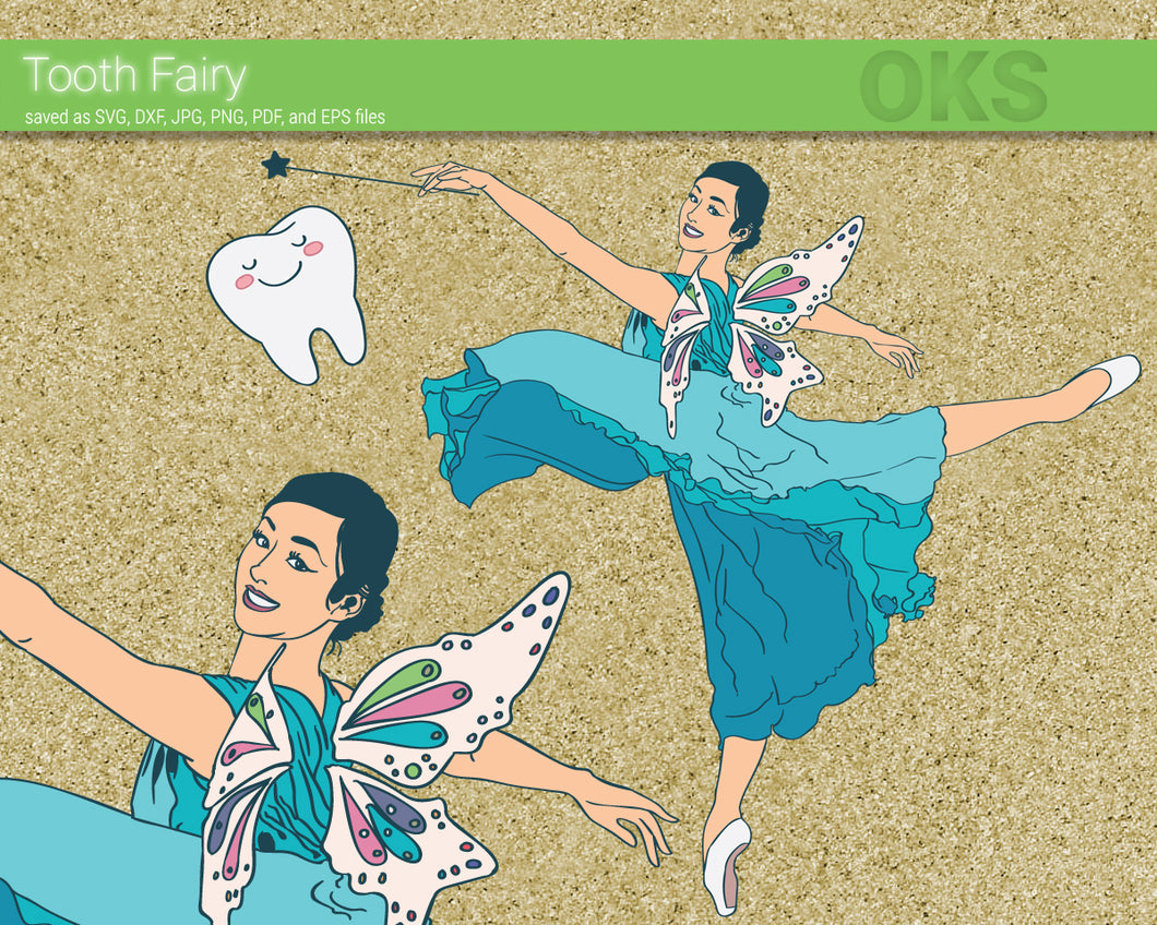 FREE tooth fairy svg, dxf, vector, eps, clipart, cricut, download