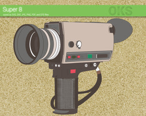 super 8 film camera svg, dxf, vector, eps, clipart, cricut, download