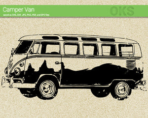 camper van svg, dxf, vector, eps, clipart, cricut, download