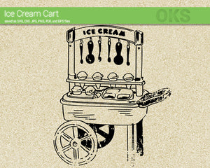 FREE ice cream cart svg, dxf, vector, eps, clipart, cricut, download