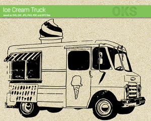 ice cream truck svg, dxf, vector, eps, clipart, cricut, download