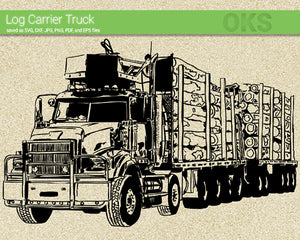log carrier truck svg, dxf, vector, eps, clipart, cricut, download