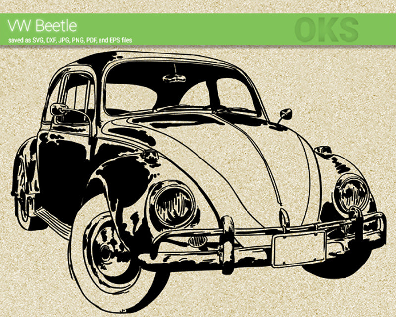 vw beetle svg, dxf, vector, eps, clipart, cricut, download
