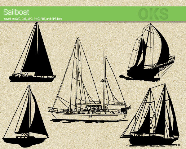 sailboat svg, dxf, vector, eps, clipart, cricut, download