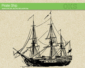 pirate ship svg, dxf, vector, eps, clipart, cricut, download