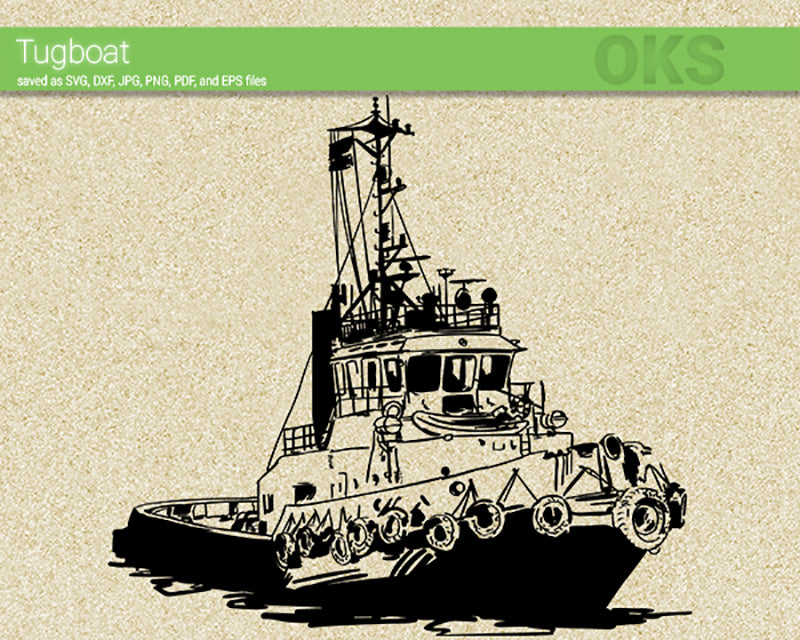 tugboat svg, dxf, vector, eps, clipart, cricut, download