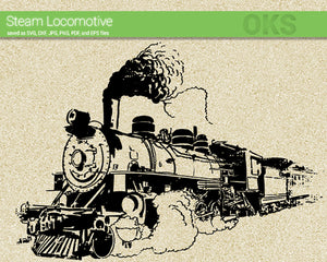 vintage steam locomotive svg, dxf, vector, eps, clipart, cricut, download